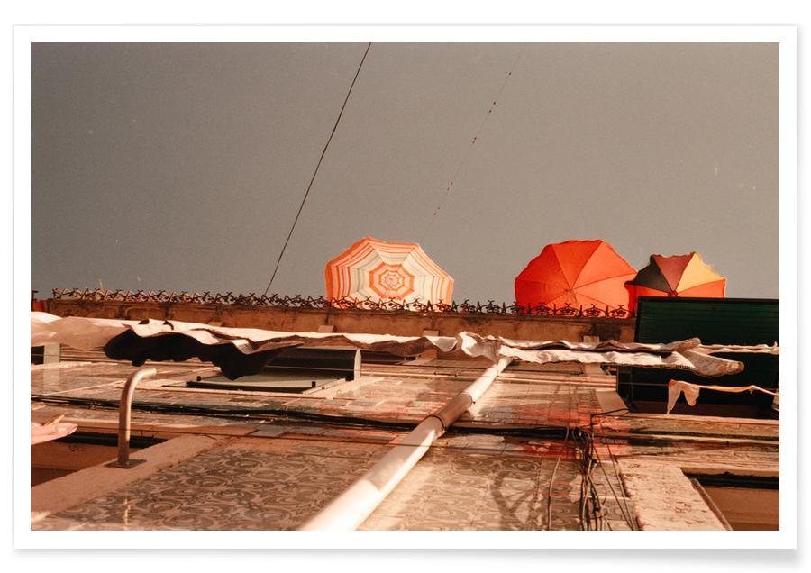 Berlin, Alphabet & Letters, Abstract Landscapes, Summer Umbrellas Poster