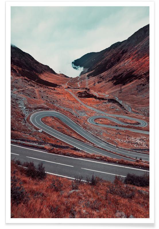 Bergen, Abstracte landschappen, Reizen, Romanian Mountain Road poster