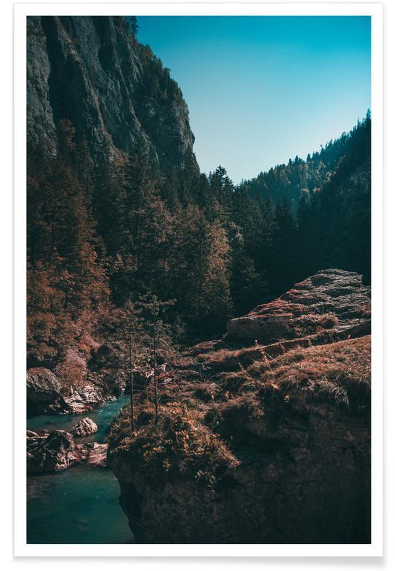 Abstracte landschappen, Bossen, Mountain River poster