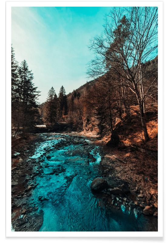Paysages abstraits, Forêts, Idyllic River Through The Woods affiche