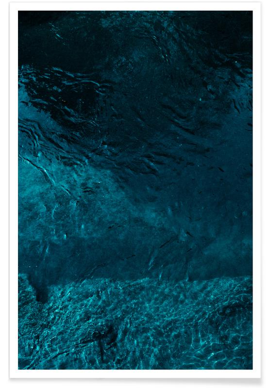 Paysages abstraits, Natation, Abstract Blue affiche