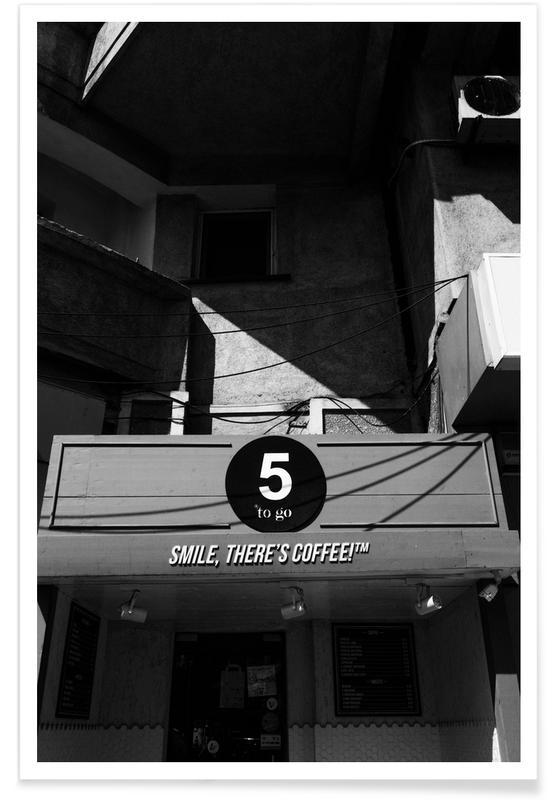 Noir & blanc, Détails architecturaux, Café, Coffee Place affiche