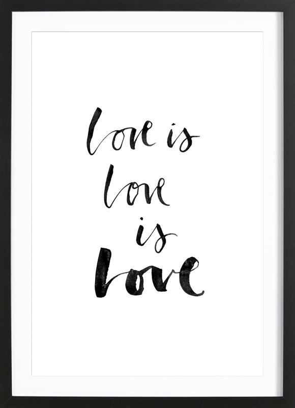 Love White -Bild mit Holzrahmen