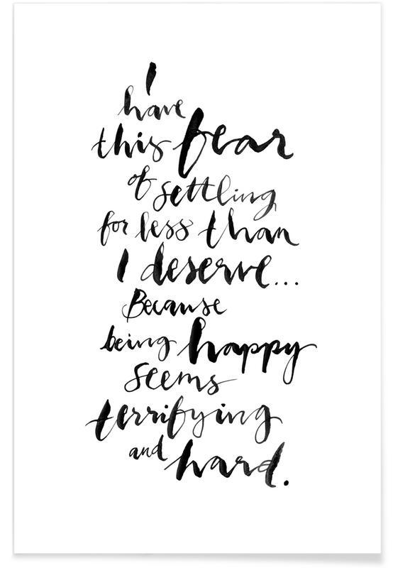 Schwarz & Weiß, Motivation, Zitate & Slogans, Happy -Poster