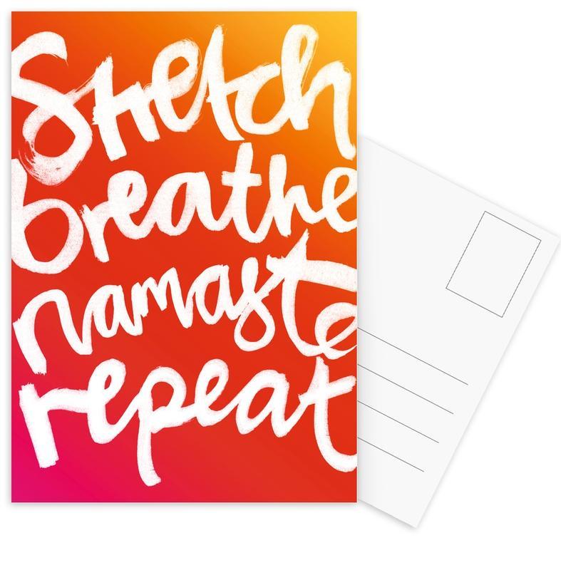 Motivational, Yoga, Repeat White Postcard Set