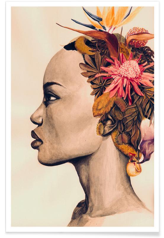 Illustrations de mode, Portraits, Amare affiche