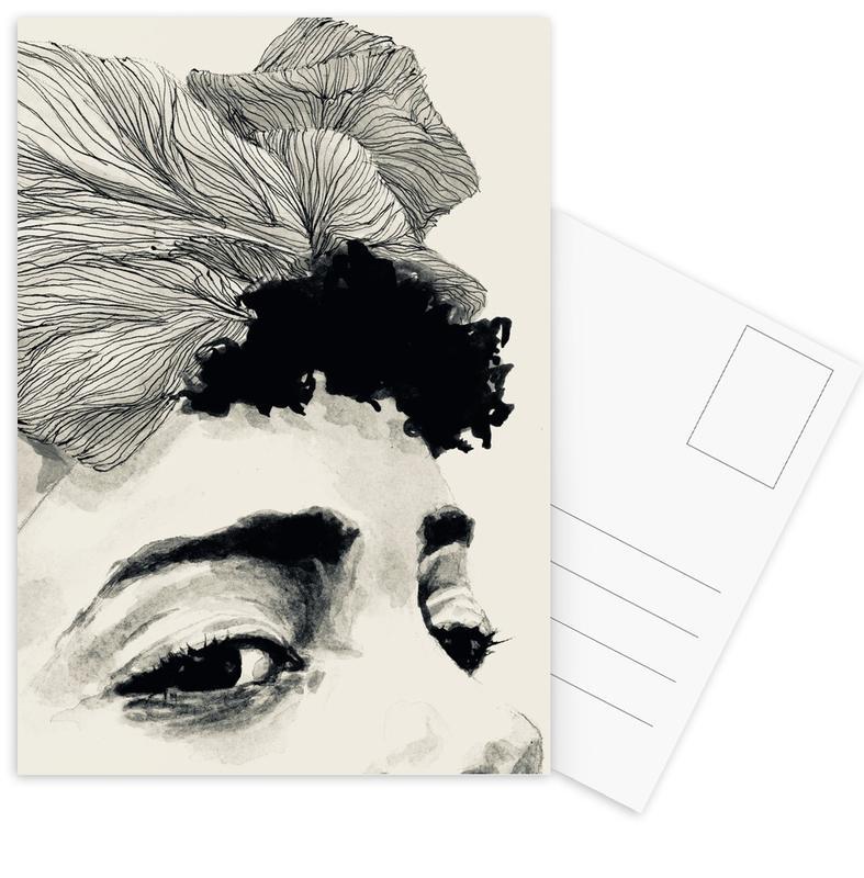 Körperformen, Schwarz & Weiß, Modeillustration, Look -Postkartenset