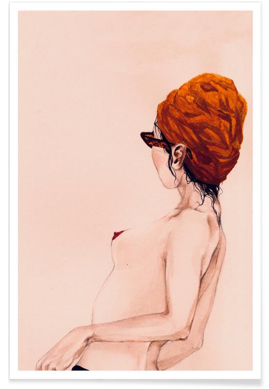 Illustrations de mode, Portraits, Nus, Attitude affiche