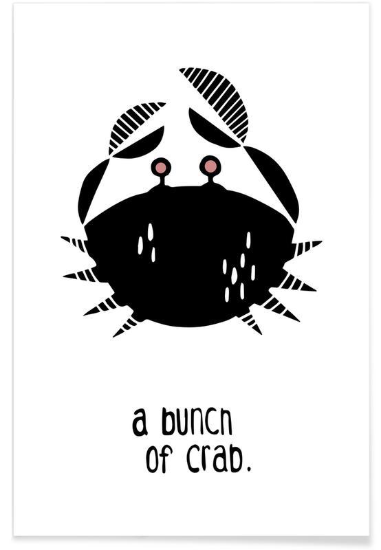 Schwarz & Weiß, Kinderzimmer & Kunst für Kinder, A Bunch of Crab -Poster