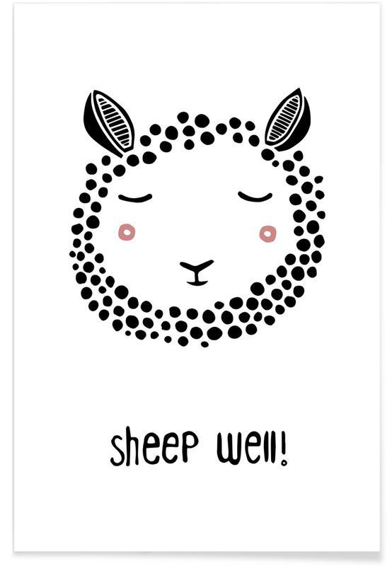 Nursery & Art for Kids, Black & White, Sheep, Sheep Well! Poster