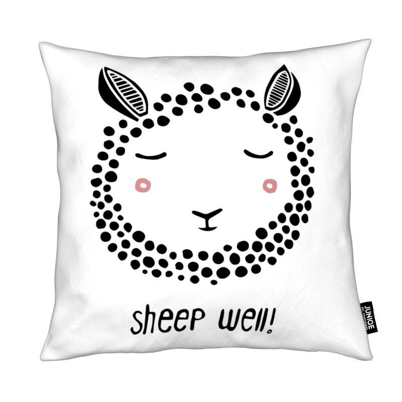 Moutons, Art pour enfants, Noir & blanc, Sheep Well! coussin