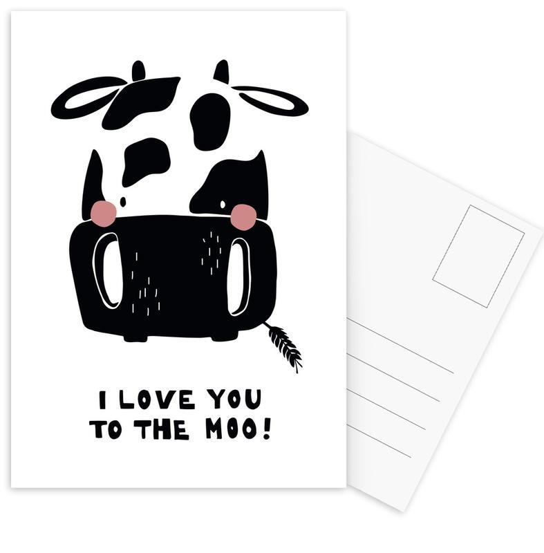 Cows, Black & White, Nursery & Art for Kids, I Love You To The Moo. Postcard Set