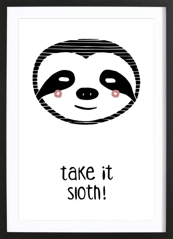 Take it Sloth! -Bild mit Holzrahmen