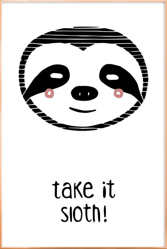 Take it Sloth! poster in aluminium lijst