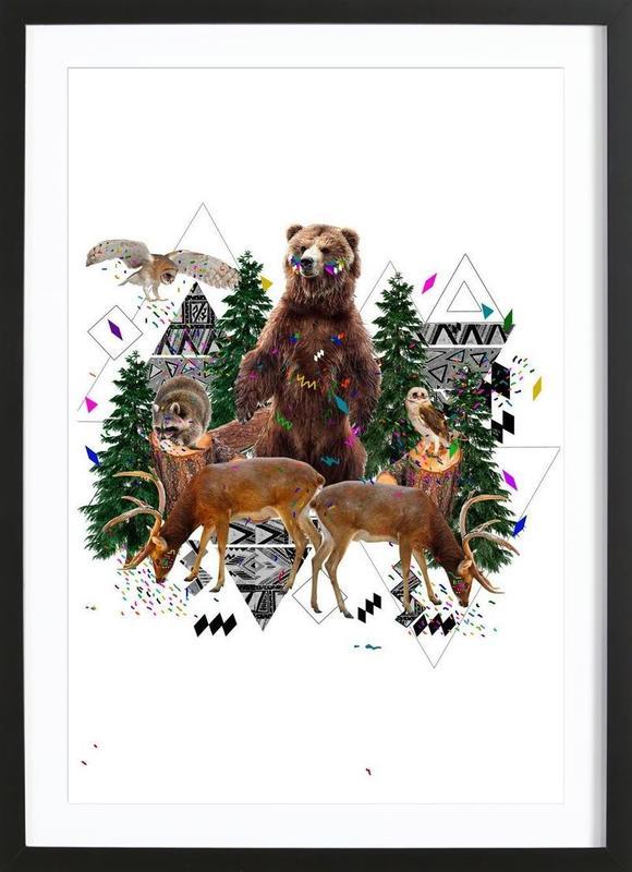 Young Spirits in the woods -Bild mit Holzrahmen