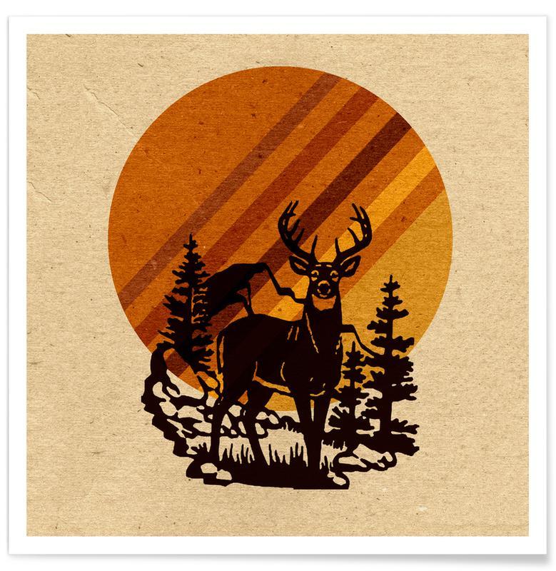 Rétro, Yellow Stone Deer affiche