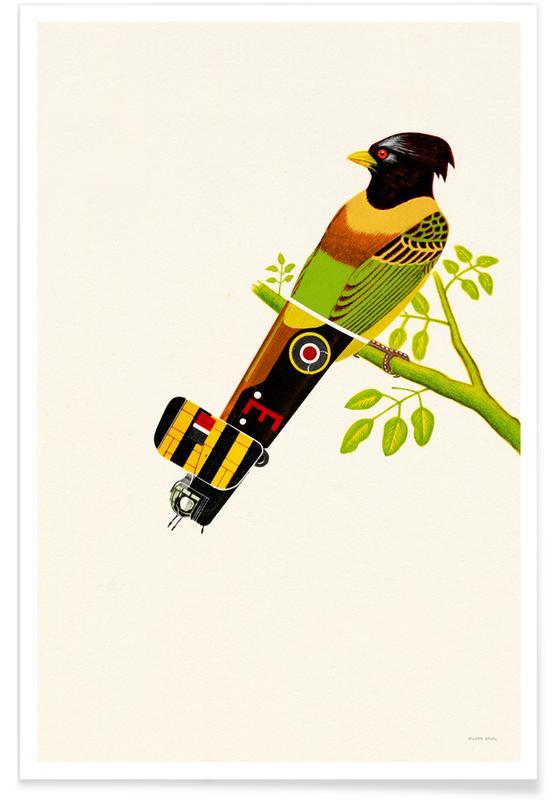 Kunst voor kinderen, Green Bird Plane poster