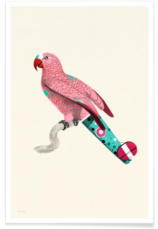 Art pour enfants, Perroquets, Pastel Pink Parrot affiche
