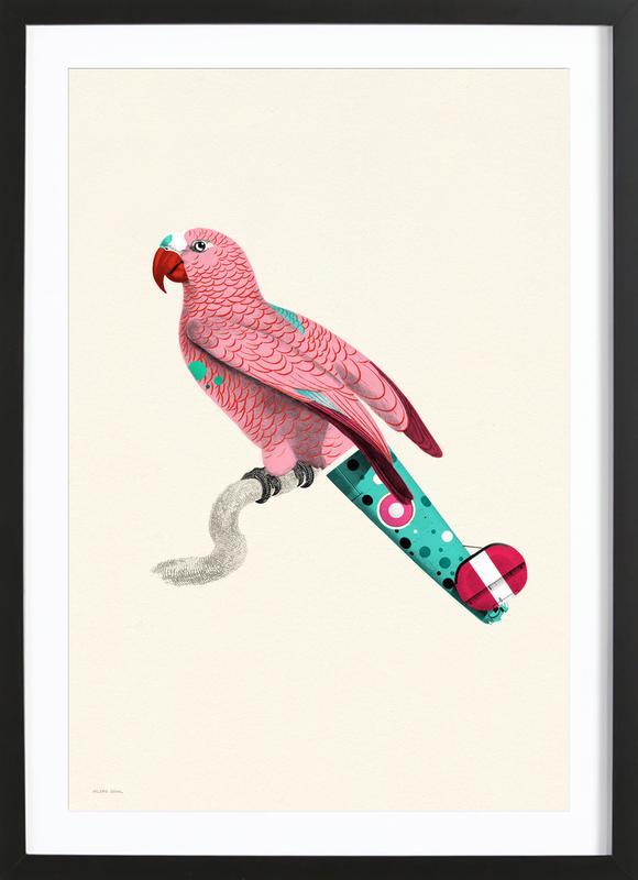 Pastel Pink Parrot -Bild mit Holzrahmen