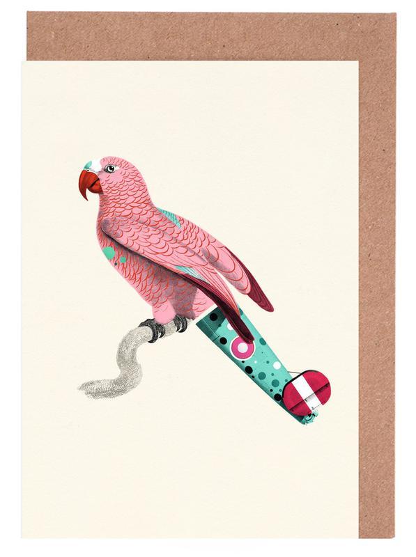 Art pour enfants, Perroquets, Pastel Pink Parrot cartes de vœux