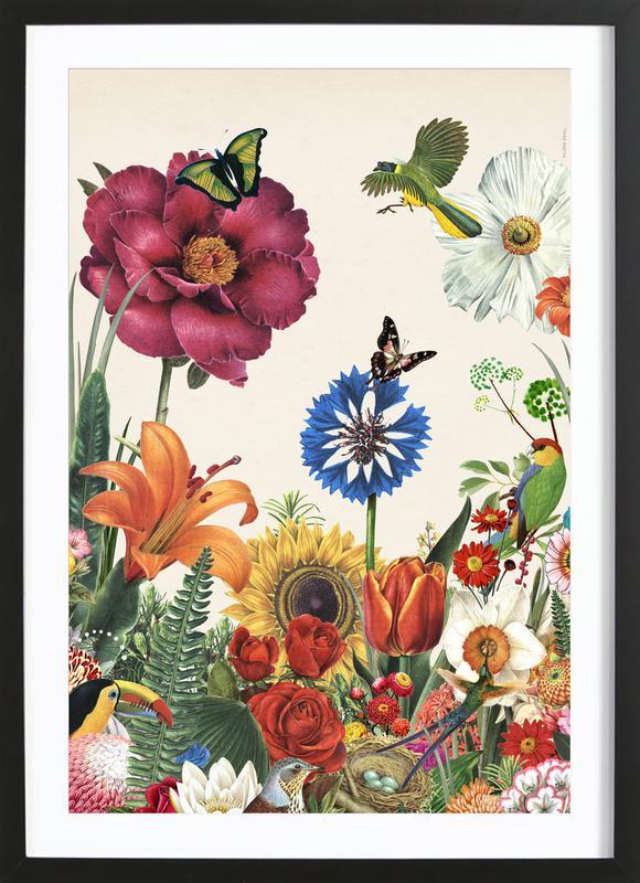 Garden Spring Flowers -Bild mit Holzrahmen