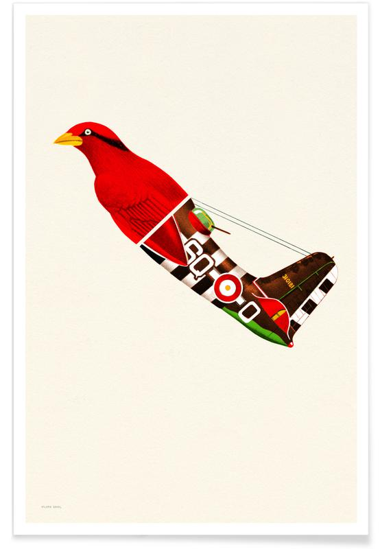 Red Bird Plane Poster