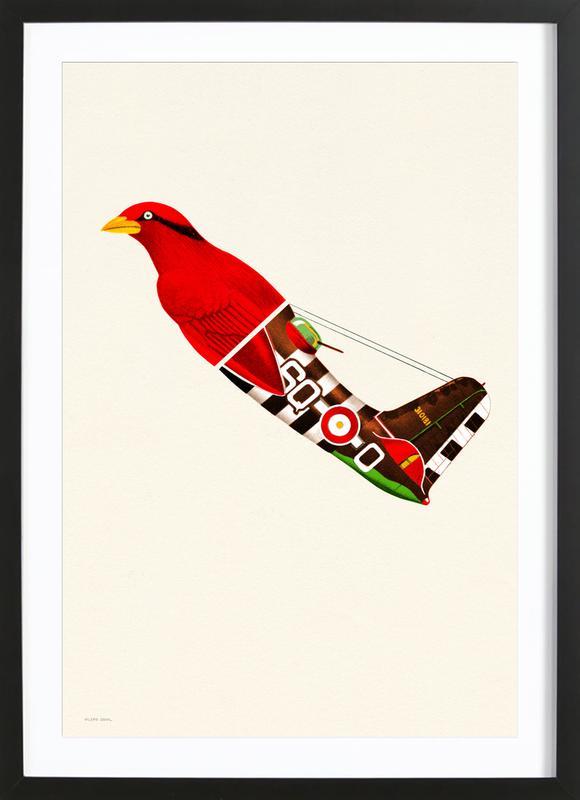 Red Bird Plane -Bild mit Holzrahmen