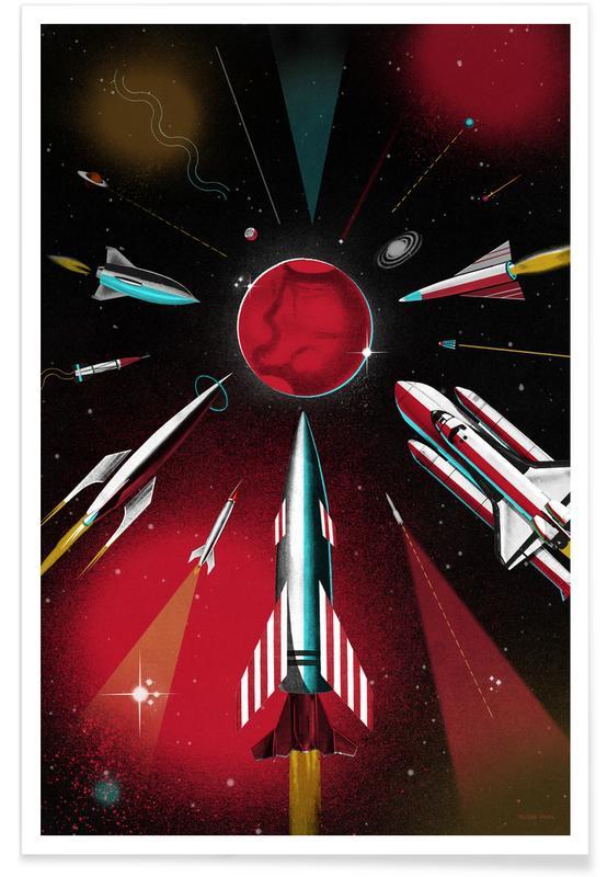 Ruimteschepen en raketten, Kunst voor kinderen, Space Race poster