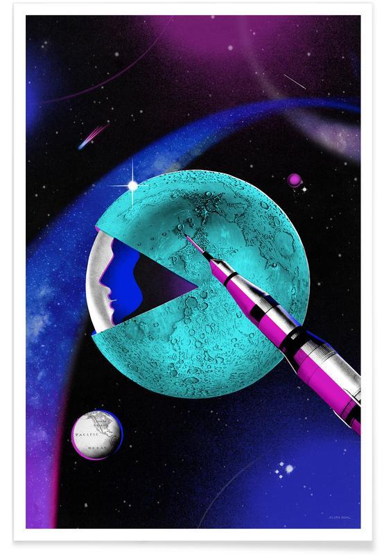 Ruimteschepen en raketten, Kunst voor kinderen, Moon Landing poster