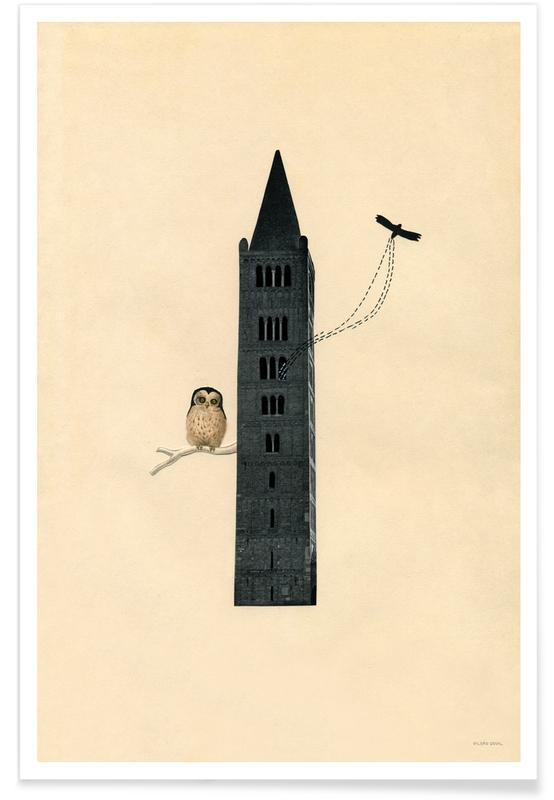 Kunst voor kinderen, Uilen, Retro, Owl poster