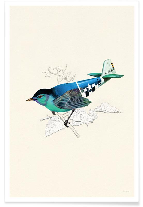 Kunst voor kinderen, Blue Aviation Bird poster