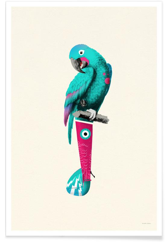 Tropical Turquoise Parrot Poster