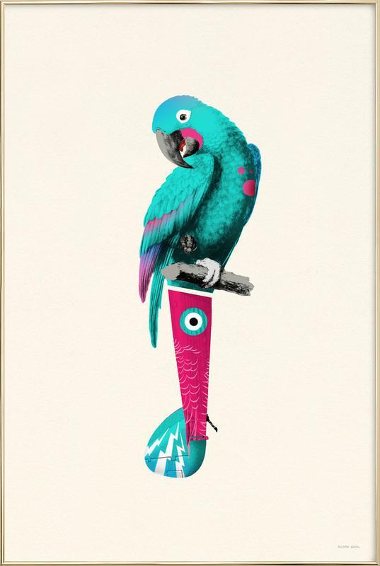Tropical Turquoise Parrot -Poster im Alurahmen