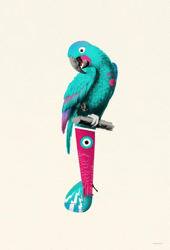 Tropical Turquoise Parrot -Acrylglasbild