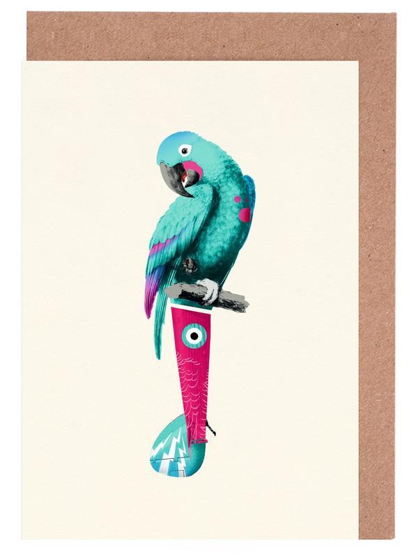 Art pour enfants, Perroquets, Tropical Turquoise Parrot cartes de vœux