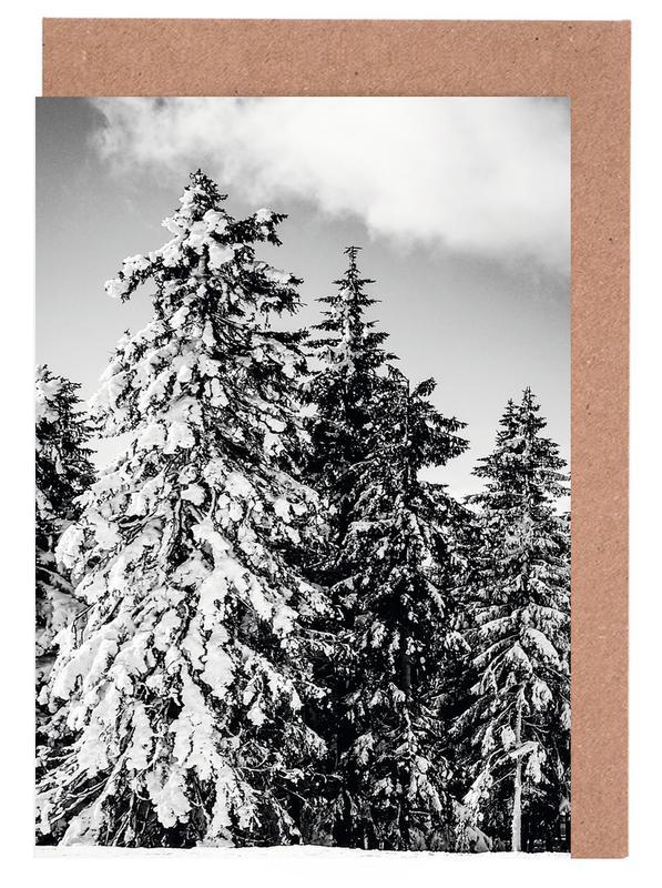 Wälder, Bäume, Schwarz & Weiß, Snowy Trees -Grußkarten-Set