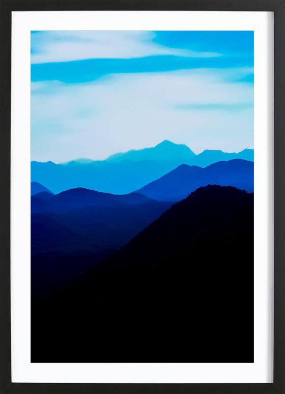 Blue Mountain Range -Bild mit Holzrahmen