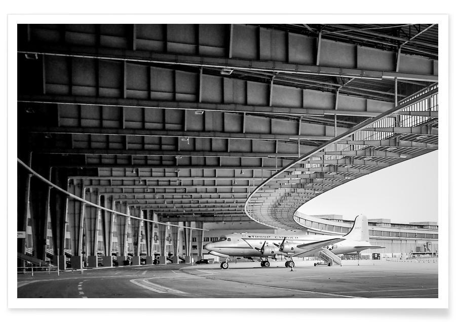 Schwarz & Weiß, Flugzeuge, Berlin, Airplane Hangar -Poster
