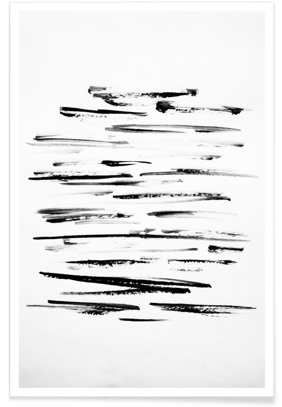 Patronen, Black Minimalist brush Lines poster
