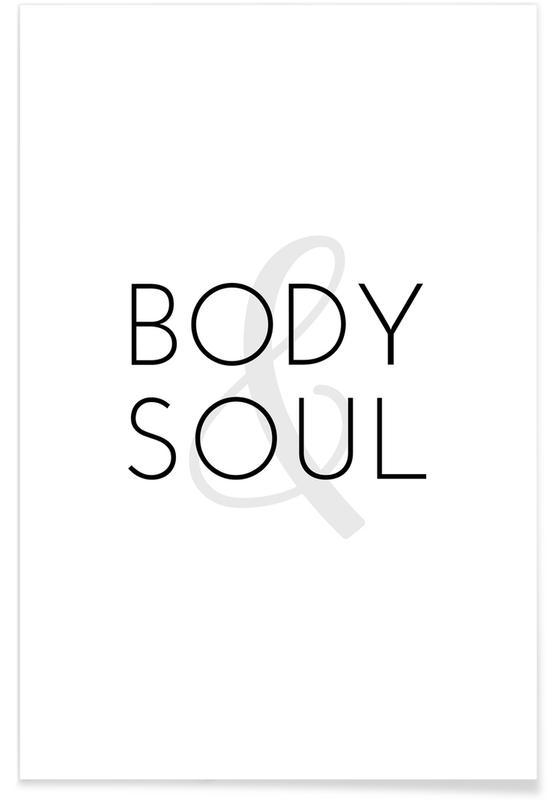 Yoga, Zitate & Slogans, Schwarz & Weiß, Yoga - Body & Soul -Poster