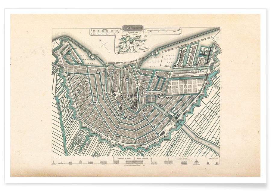 Amsterdam, Amsterdam, Nederland, 1683 - stadskaart poster