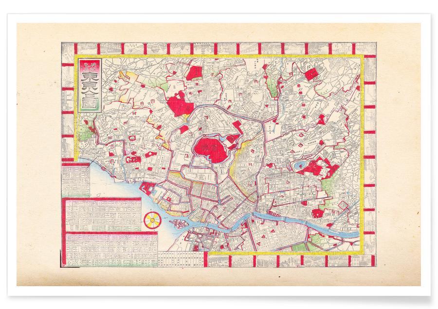 Tokyo, Woodblock Tokyo, Japan Map Poster