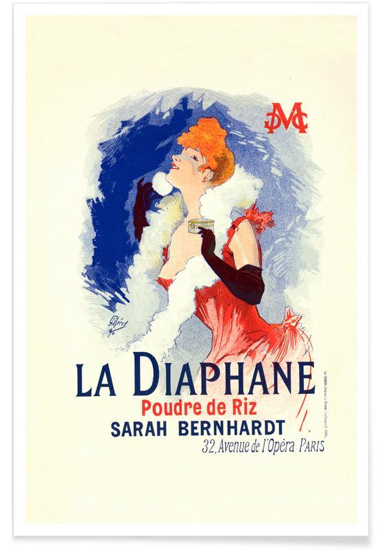 Illustrations de mode, Poster for la Poudre de Riz la Diaphane, Face-powder, Sarah Bernhardt - Jules Chéret affiche