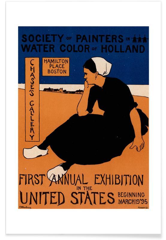 , American poster for Exposition de la Société -Charles Herbert Woodbury affiche