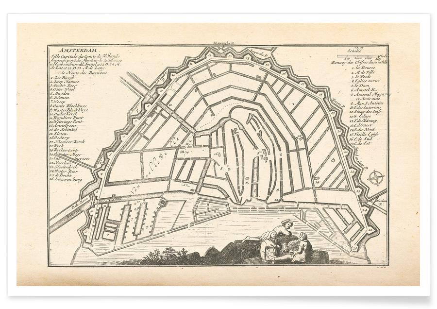 Amsterdam, Holland, 1726-Stadtkarte -Poster