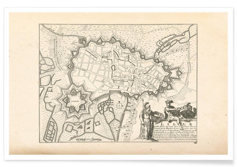 , Lille, Frankrijk, 1726. - stadskaart poster