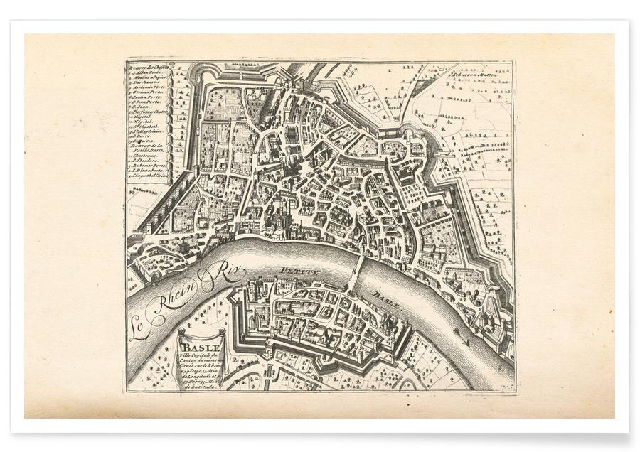 Basel, Basel, Switzerland , 1726 Map Poster