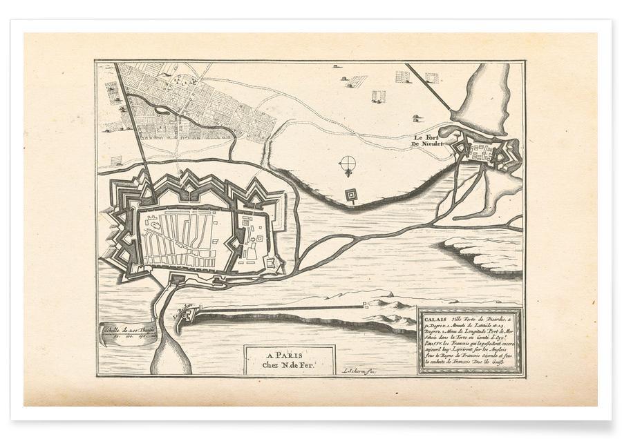 , Calais, Frankrijk, 1726 - stadskaart poster