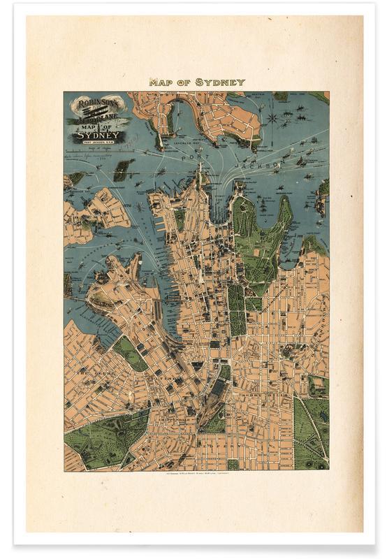Sydney, Australia, 1922 Map Poster
