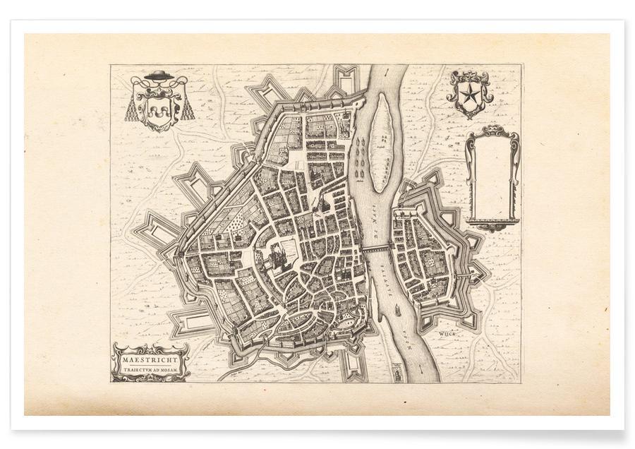 , Maastricht, Nederland, 1652 - stadskaart poster